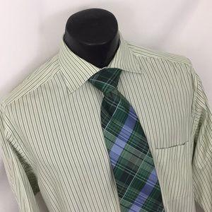 Ermenegildo Zegna dress shirt striped green 41 16
